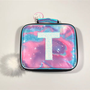 "Justice NEW Purple ""Galaxy"" Lunchbox - Inital ""T"""